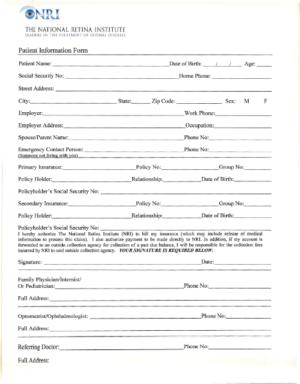 Patient form cover sheet